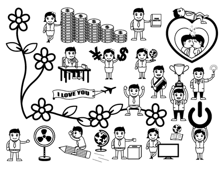 Business and Equipment Cartoon Graphics Vectors Ilustração