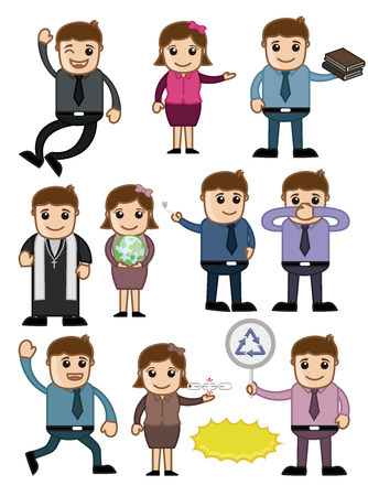 Cartoon Characters Vectors Set