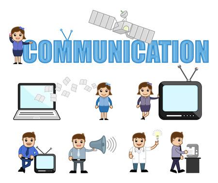 Communication Conceptual Cartoon Vectors Illustration