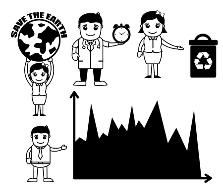 Retro Cartoons Concepts Related to Business and Ecology