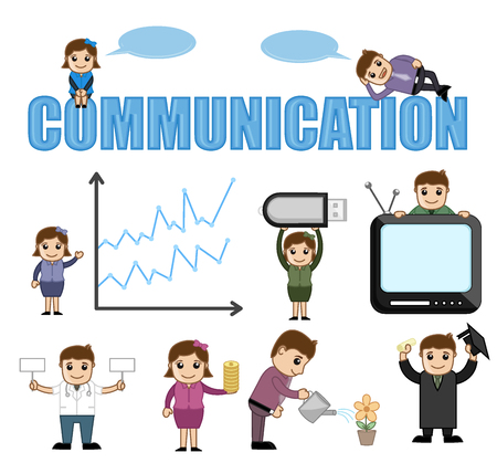 Business and Communication Conceptual Cartoon Vectors