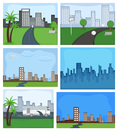 Cartoon Metro City Vector Backgrounds