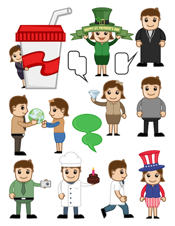 Cartoon Business and Holiday People Characters Illustration