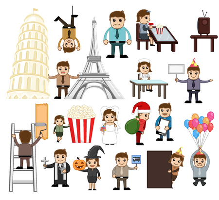 business woman: Holiday and Business Cartoon People Vectors