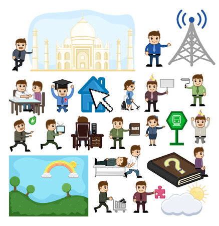 Communication and Travel Cartoon Graphics