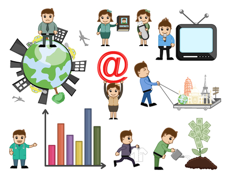 Vector, Illustration, Cartoon, Comic, Characters,Business, Businessman, Businesswoman, Salesman, Employee, Television, Symbol, Monuments, Graph, Growth, Concepts.