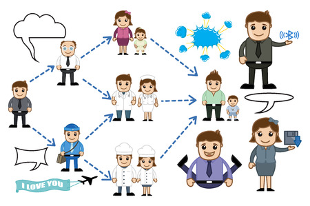 Connecting Business People Cartoon Illustrations Illustration