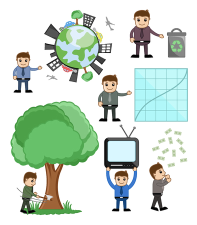 man flying: Environment and Business Related Cartoon Graphics Illustration