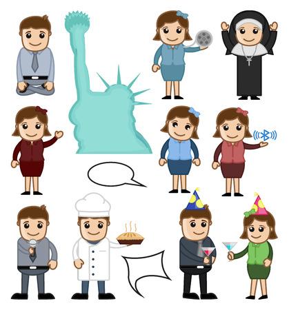 birthday religious: Cartoon People Vector Characters