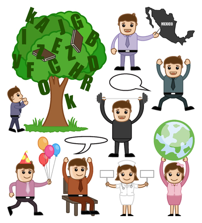 Educational and Business Cartoon Concepts