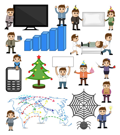 business woman: Various Holiday and Business Related Cartoon Vectors