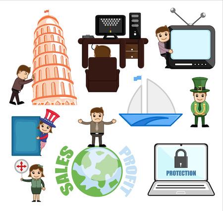 Illustration Set of Cartoon Travel and Communication Concept Illustration