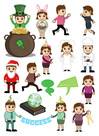 Cartoon Characters for Various Concepts Illustration