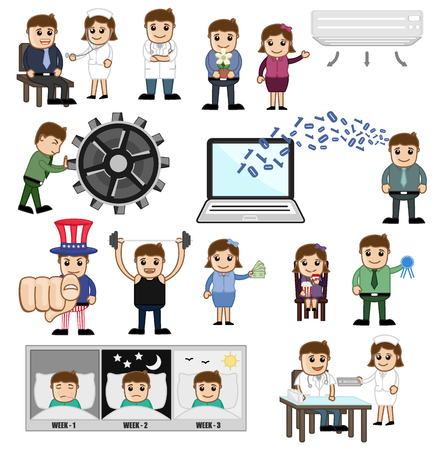 Cartoon Concepts of Profession and Technology Illustration