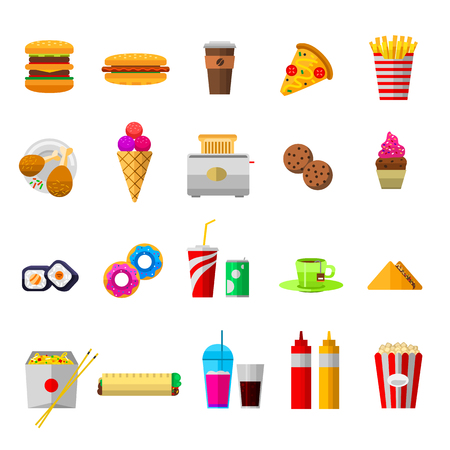 Vector food icons, sweet fast food elements. Food icons restaurant menu isolated. Cake design food icons kitchen beverage dinner and sweet dessert chine rolls. Different fast food icons Ilustrace
