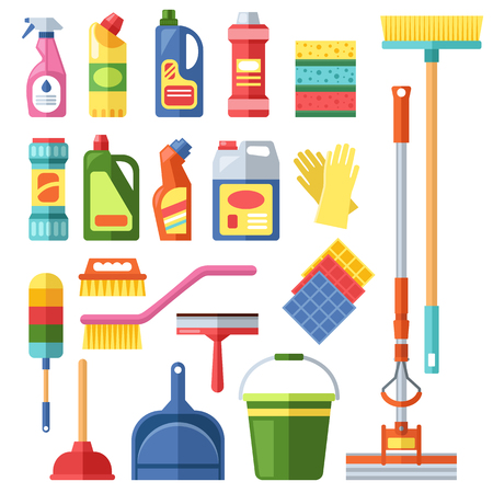 kitchen cleaning: House cleaning tools and cleaning products flat vector icons set. Vector cleaning products symbols. House cleaning illustration. Other cleaning icons isolated on white background