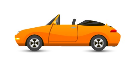 cabriolet: Car cabriolet vehicle transport type design sign technology style vector. Generic cabriolet car design flat vector illustration isolated on white. Transport cabriolet object