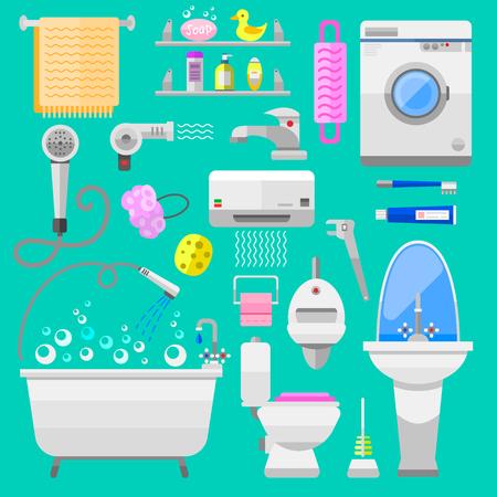 clean bathroom: Bathroom icons toilet symbols vector illustration. Bathroom symbols water icon and hygiene collection bathroom symbols. Faucet room clean bathroom symbols.