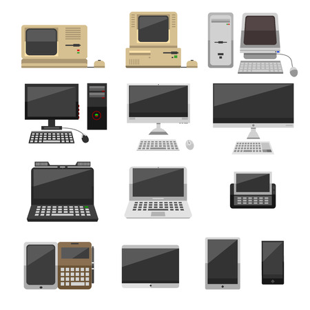 old pc: Computer technology vector evolution isolated display. Telecommunication equipment metal pc monitor frame computer modern office network. Old computer device electronic black equipment space.
