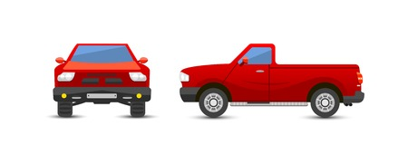 pickup: Car pickup truck vehicle transport type design sign technology style vector. Generic pickup truck car design flat vector illustration isolated on white. Transport pickup truck object