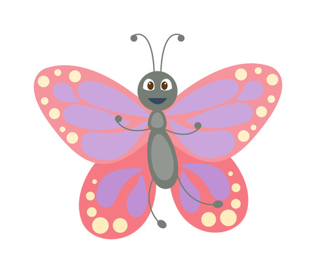butterfly vector: Cute flat butterfly vector. Flat butterfly isolated on white background. Different hand made style butterfly insects vector illustration. Baby kids butterfly insects