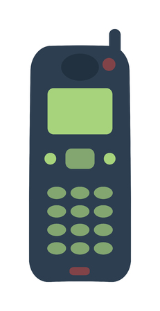 gsm phone: Old vintage keypad mobile phone and icon of old classic mobile phone antique vector. Old style mobile phone technology retro cellphone vector illustration Illustration