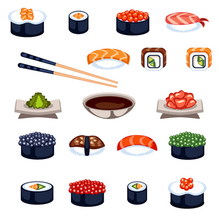 sushi roll: Sushi and rolls flat food and japanese seafood sushi rolls. Sushi rolls traditional seaweed fresh raw food. Asia cuisine restaurant delicious. Sushi roll with fish fast food