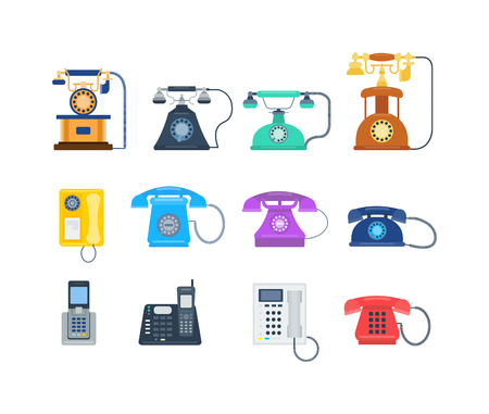 Telephones call contact, business telephones. Classic telephones technology support symbol, retro telephones mobile equipment. Telephones communication call contact device vector Illustration