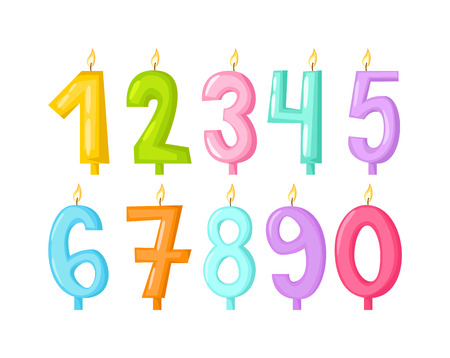 candlelight: Vector numbers candles in flat style. Candles light flame party birthday candlelight wax decoration. Celebration numbers glowing candles birthday traditional decoration. Party candle Illustration