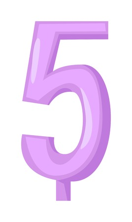 number candles: Vector number 5 candle in flat style. Candles light flame party birthday candlelight wax decoration. Celebration number glowing candles birthday traditional decoration. Party candle