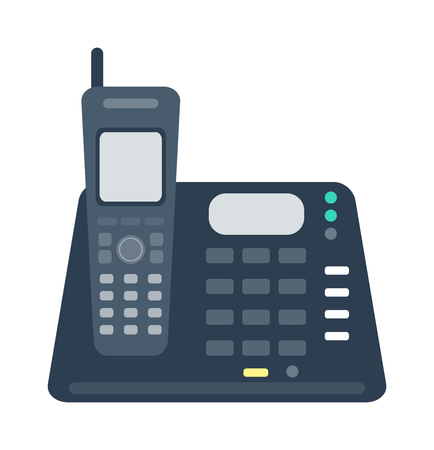 keypad: Office business keypad phone and icon of old classic mobile phone vector. Modern style mobile phone technology cellphone vector illustration isolated