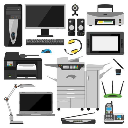 オフィス機器ラップトップ コンピューターをグループ化、監視、タブレット pc、スマートな携帯電話・ プリンター ・ キーボード。コンピューター  イラスト・ベクター素材