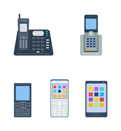 telephones: Telephones call contact, business telephones. Classic telephones technology support symbol, retro telephones mobile equipment. Telephones communication call contact device vector Illustration