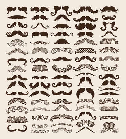 white beard: Black silhouette vector mustache. Mustache brown hair and man mustache hipster set. Mustache retro curly black silhouette collection beard mustache. Mustache barber silhouette hairstyle