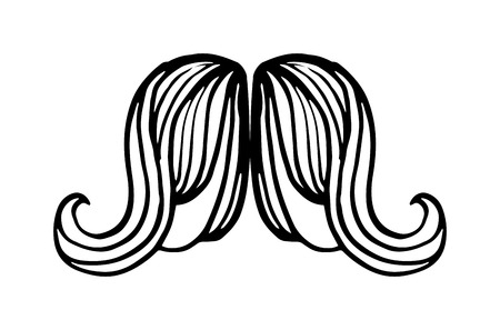 handlebar: Black silhouette vector mustache. Mustache black hair and man mustache hipster set. Mustache retro curly black silhouette collection beard mustache. Mustache barber silhouette hairstyle
