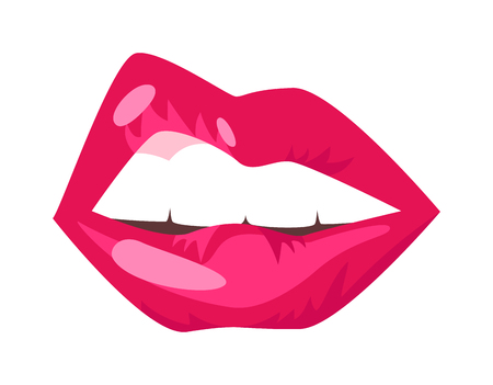 sensuality: Female lips isolated on white background. Passion makeup mouth. Woman lips romance cosmetic sensuality desire. Set of mouth smile woman red sexy woman lips isolated shape romantic print emotions
