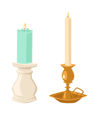 candlelight: Vector candles flat style. Candles light flame christmas candlelight wax decoration. Celebration glowing religion candles birthday traditional decoration. Romance night or birthday party bright flame
