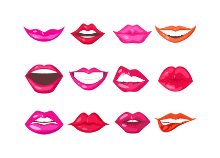 sensuality: Female lips isolated on white background. Passion makeup mouth. Set woman lips romance cosmetic sensuality desire. Set of mouth smile woman red sexy woman lips isolated shape romantic print emotions