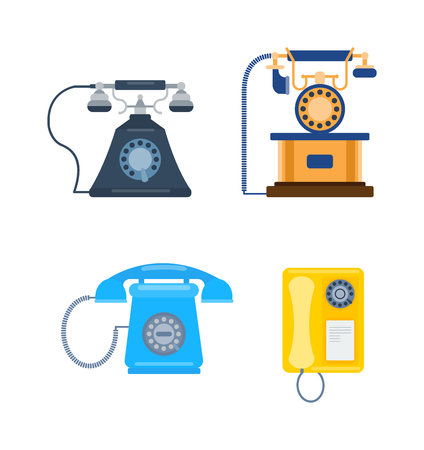 gsm phone: Old vintage keypad mobile phone and icon of old classic mobile phone antique vector. Old style mobile phone technology retro cellphone vector illustration isolated