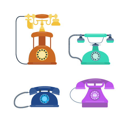 call history: Old vintage keypad mobile phone and icon of old classic mobile phone antique vector. Old style mobile phone technology retro cellphone vector illustration isolated