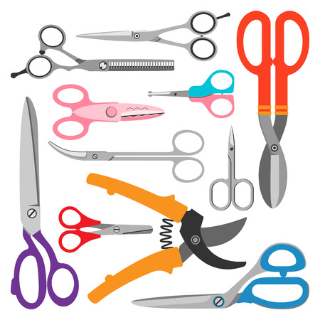 barber scissors: Vector different illustration of scissors on white background. Scissors trim equipment template steel blade metal sign. Barber silhouette salon work set scissors. Style hairdresser tailor sign. Illustration