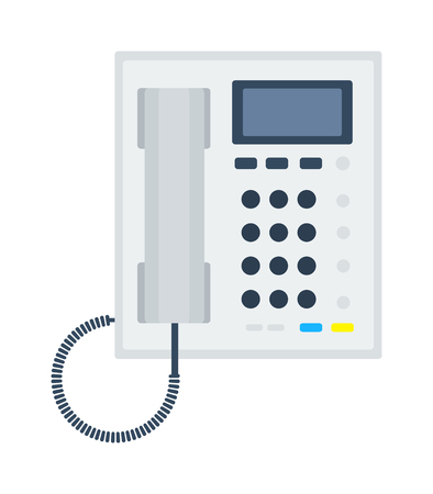 keypad: Office business keypad phone and icon of classic business office phone vector. Modern style business office phone technology cellphone vector illustration isolated