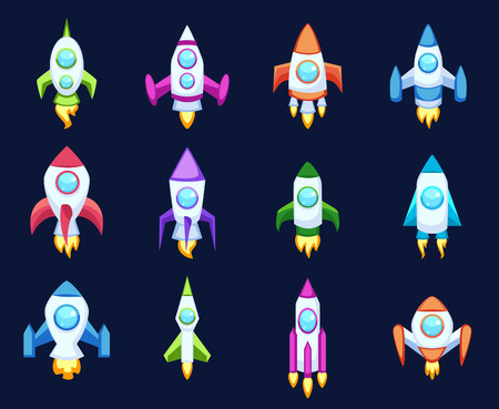 spacecraft: Rocket set and technology space ship rocket cartoon icons. Science future travel rocket and shuttle fly rocket. Speed galaxy fantasy rocket and futuristic spacecraft, astronaut modern element. Illustration