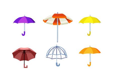 comfort: Cartoon multi colored umbrella flat design style. Autumn accessory concept fashion umbrella. Colorful flat collection comfort umbrella outdoor element, climate protective sign. Illustration