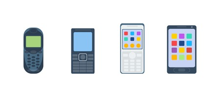 keypad: Old vintage keypad mobile phone and icon of old classic mobile phone antique vector. Old style mobile phone technology retro cellphone vector illustration Illustration
