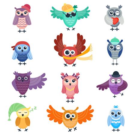漫画フクロウのかわいいベクター コレクション。動物キャラクター漫画フクロウ コミック面白いコレクション。陽気な鳥動作漫画フクロウ。愛らし  イラスト・ベクター素材