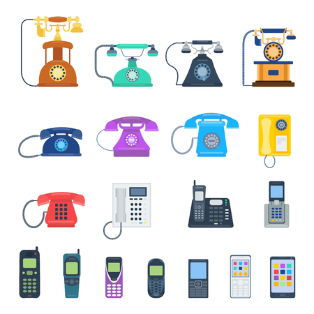 telephones: Modern telephones and vintage telephones isolated. Classic telephones technology support symbol, retro telephones mobile equipment. Telephones communication call contact device vector set.