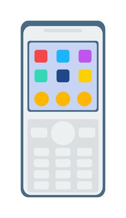 telephone cartoon: Smartphone phone design and modern smart phone business cartoon tablet . White smartphone flat designs cartoon telephone screen illustration