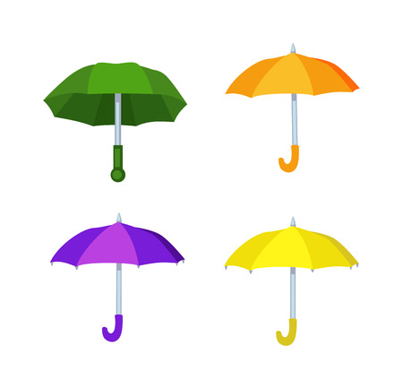 Cartoon multi colored umbrella flat design style. Autumn accessory concept fashion umbrella. Colorful flat collection comfort umbrella outdoor element, climate protective sign. Illustration