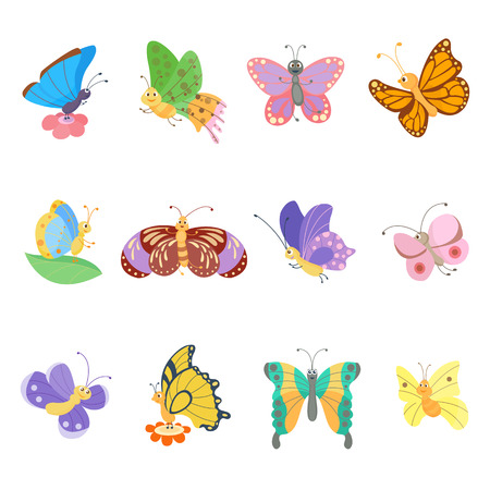 butterfly silhouette: Colorful butterflies flat style vector insects. Vector butterfly set. Butterfly colorful different types. Butterfly silhouette isolated on white background. Insects fly symbols